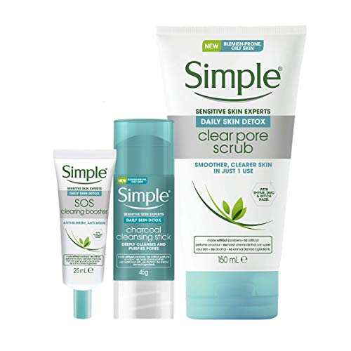 Simple Daily Detox 3 Step Regime For Oily Skin: Charcoal Cleansing Stick, Clear Pore Scrub and Sos Booster GEL1 Units…