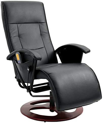 vidaXL Fauteuil Électrique de Massage Silimicuir Noir Salon Chaise Massante