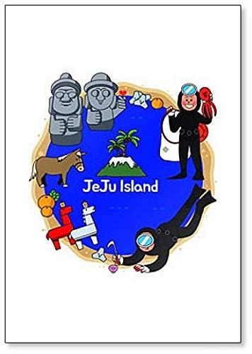 Jeju Island in South Korea with Dol Ha Reu Bang Classic Fridge Magnet