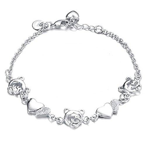 KATGI Fashion Polished Hearts and Cubs Bear Bracelet (Cudly Bear)