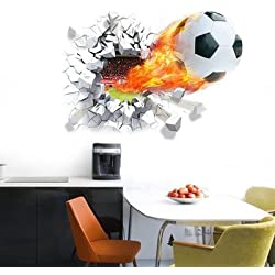 Unkk 1 Piece Kids Black White Orange Soccer Wall Decal, Sports Themed Wall Stickers Peel Stick, Fun Sport Scorched Ball Checkered Fire Goal Score Decorative Graphic Mural Art, Vinyl