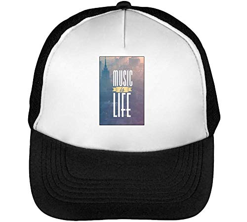 Music Is Life I Techno Music Series Dance To The Beat Gorras Hombre Snapback Beisbol Negro Blanco