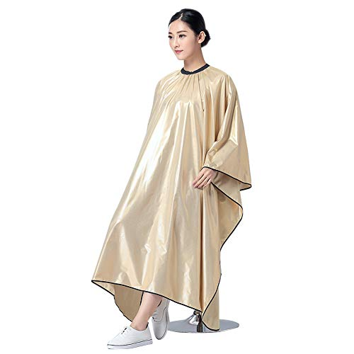 Echaprey Professional Adults Salon Cape Hairdressing Hair Cutting Cape Waterproof Barbers Haircut Apron (Gold) by Echaprey