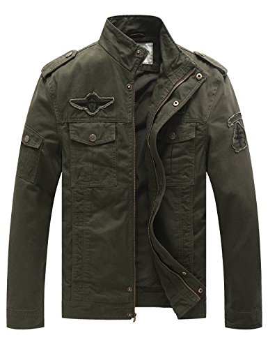 WenVen Men's Fashion Cotton Jackets (Military Green, US Size S)