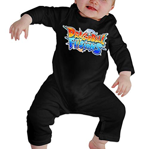 Baby Boy Girl O-Neck Long Sleeve Pure Color Onesie Dra_gon Ball Fusions Jumpsuits Sleepwear Black 40