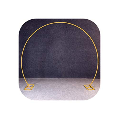 Goodbye White Gold U/Heart/Round Ring Shape Metal Iron Arch Wedding Backdrop Stand Party Decor Artificial Flower Balloon Stand Shelf,Gold Round Shape