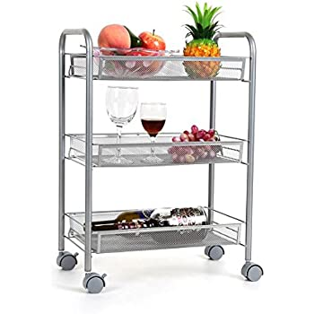 Amazon.com - HOMFA 3-Tier Mesh Wire Rolling Cart Multifunction ...