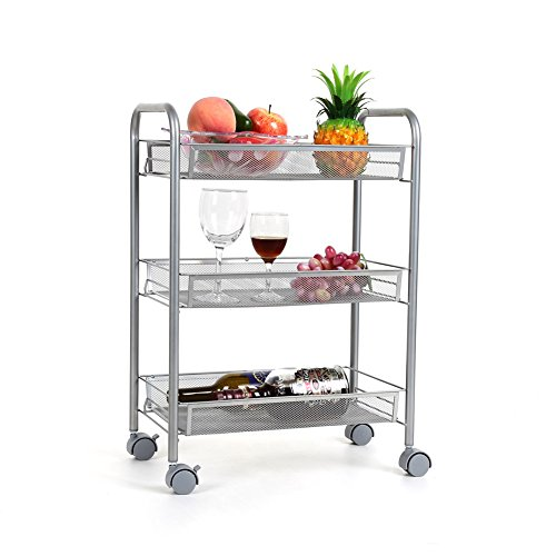 Homfa 3-Tier Mesh Wire Rolling Cart Multifunction Utility Cart Kitchen Storage Cart on Wheels, Steel Wire Basket Shelving Trolley,Easy Moving,Silver