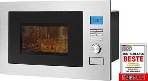 Bomann MWG 3001 H EB – Microonde da incasso 3 in 1 con griglia e aria calda, display LCD, 8 programmi automatici, funzione timer, 25 l, interno in acciaio inox