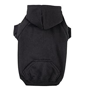 """Zack & Zoey Basic Hoodie for Dogs, 20"""" Large, Jet Black"""