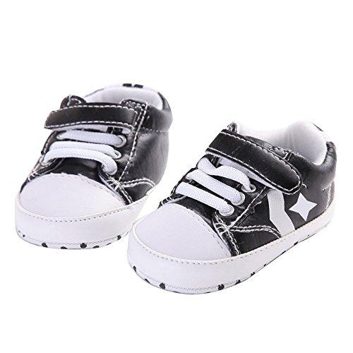 WAYLONGPLUS Zapatos para bebé antideslizantes y suaves blanco blanco Talla:12 (6-12 Months) negro