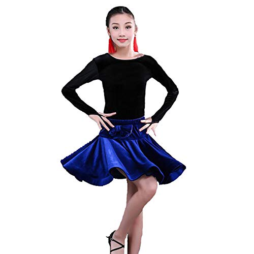 Dance costumes - children's Latin dance skirts practice clothes competition test level precisely sets the standard clothing children's Latin dance performance clothing ( Color : Blue , Size : 150cm ) for $<!--$43.88-->
