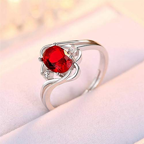 SHOUSHI Women's Western Fashion 925 Silver S925 Silver Green Chalcedony Red Agate Inlay Agate Retro Ring Adjustable Ring Female, 925 Silver, Opening Adjustable