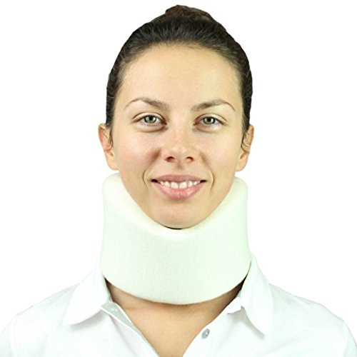 Neck Brace by Vive - Cervical Collar - Adjustable Soft Support Collar Can Be Used During Sleep - Wraps Aligns & Stabilizes Vertebrae - Relieves Pain and Pressure in Spine - One-Size Fits Most (White)