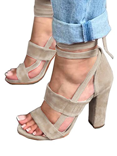 ThusFar Women Chunky Ankle Strappy Sandals Lace up High Heels Party Simple Classic Shoes Beige