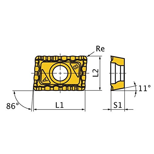 0.187 Thick 0.047 Corner Radius Mitsubishi Materials JPMX190412-WH VP20RT Carbide Milling Insert Coated Class M Pack of 10 Round Honing