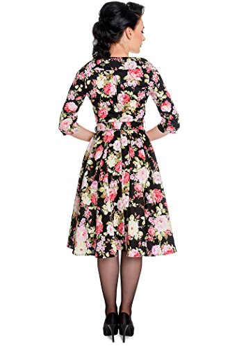 Hell Bunny Damen Kleid Black Dahlia Blüten Swing Dress Schwarz mit ...