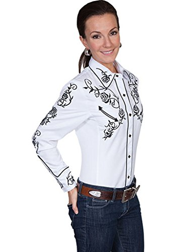 Buy womens white embroidered western shirts