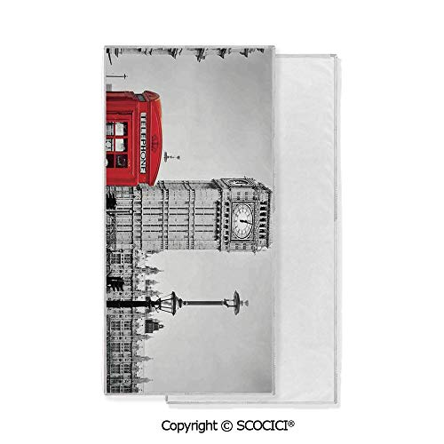 - Long-Lasting and Soft Lightweight Quick-Dry Polyester Towel,Famous Telephone Booth and the Big Ben in England Street View Symbols of Town Retro Decorative (15x30 inch),Suitable For Camping, Running,