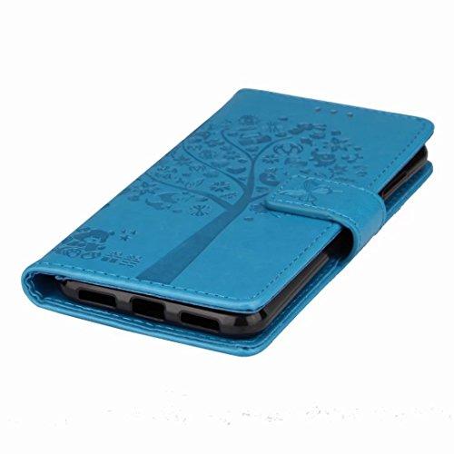 Yiizy Funda Huawei P8 Lite (2017) tapa Fundas, Linda Caricatura Árbol Carcasa Tapa Cuero Funda Piel Billetera Flip Cover Solapa Estuches Silicona TPU Magnética Cáscara Bumper Protector Slim Stand Ranu Azul
