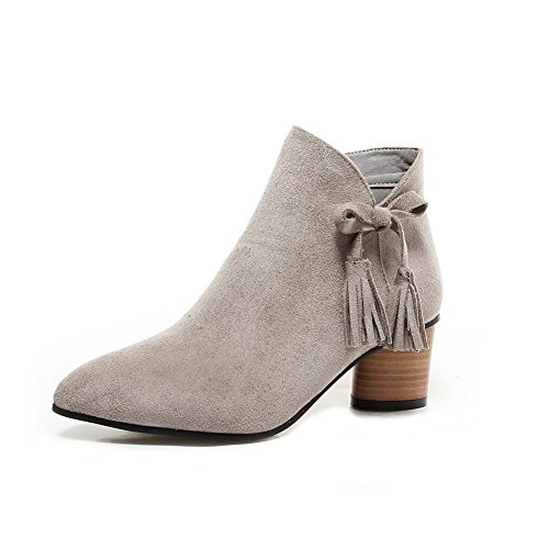 AllhqFashion Women's Zipper Kitten-Heels Imitated Suede Solid Ankle-high Boots, Gray, - Fashion Blogs Indie