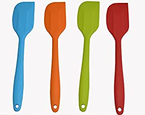 11 inch Silicone Spatula Set of 4 - One Piece Design Hygienic Solid Silicone Design - Premium Silicone Utensils Set - Perfect Silicone Scraper - Essential Cooking Gadget and Bakeware Tool