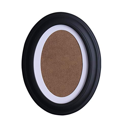 VORCOOL 7 Inch Classic Oval Wood Picture Frame Round Photo Frame Wall Hanging Decoration - Send Seamless Nail and S Nail (Black)