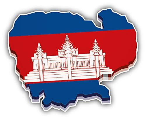 (JJH Inc Cambodia Map Flag 3D Vinyl Decal Sticker Waterproof Car Decal Bumper Sticker 5