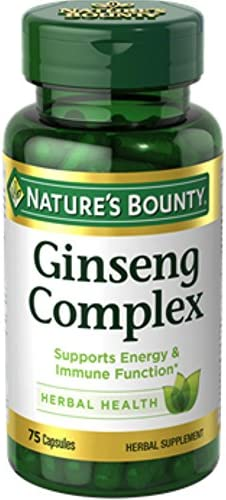 Nature s Bounty Ginseng Complex Herbal Health Capsules 75 ea Pack of 4