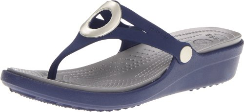 Crocs Womens Sanrah Flip Wedge Nautical Navy / Smoke