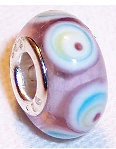 Pink Blue White Swirl Murano Glass Bead for Silver European Style Charm Bracelet ()