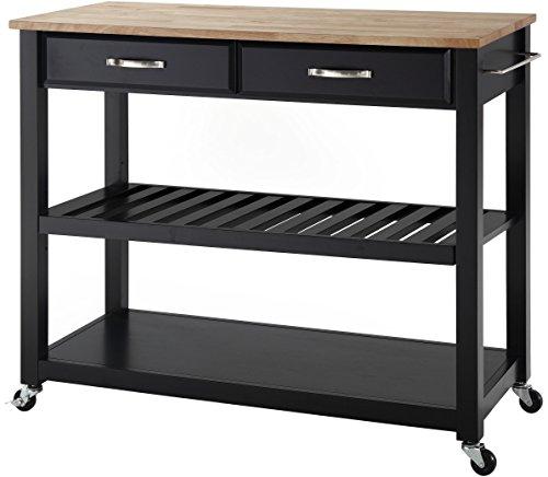 Crosley Furniture Portable Kitchen Cart with Natural Wood Top - Black - Black Natural Kitchen Island