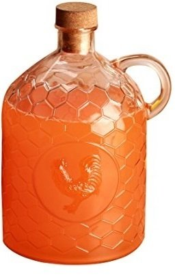 Circleware 06787 Rooster Glass Jug with Handle and Cork,Glassware for Water, Juice, Beer, Wine, Liquor, Beverage Drinks, Huge 2 Liter, Clear