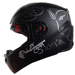 Steelbird SBA-1 Mahavir Full Face Graphic Helmet (Medium 580 MM, Matt Black/Grey with Plain)