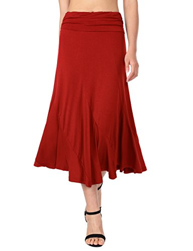 kirts,DJT Women's Vintage High Waist Shirring A-Line Long Midi Skirt Medium Red (Reds And Vintage Skirt)