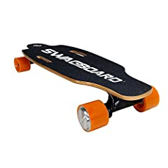 The SwagBoard boosted electric skateboard takes skateboarding to the next level! Whether you're shredding skate parks or cruising the town, SwagBoard is ready to roll.The SwagBoard charges in just 3 hours, and travels up to 10 miles with a ma...