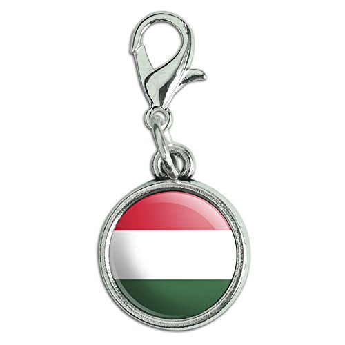 Graphics and More Antiqued Bracelet Pendant Charm with Lobster Clasp Country National Flag C-I - Hungary National Country Flag