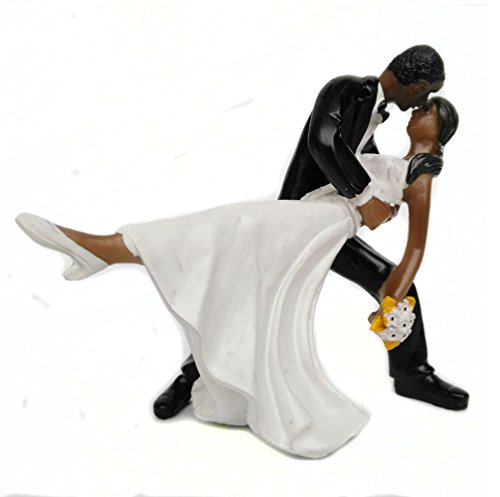 (Homanda Black A Romantic Dip Dancing Bride and Groom Couple Figurine Wedding Decoration Cake Topper)