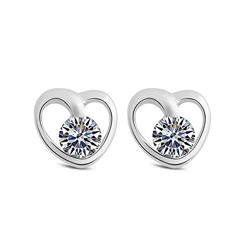 The November Nocturne the Eternal Classic Heart Shape Lover Silver Plated White Zircon Studded Earring