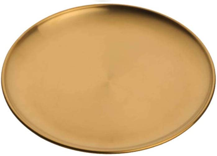 Amazon Com Chxihome Nordic Stainless Steel Dinner Plate Eco Friendly Kitchen Golden Colored Oval Metal Tray Western Steak Round Dessert Tray Round Gold Home Kitchen,Sage And Lavender Color Scheme