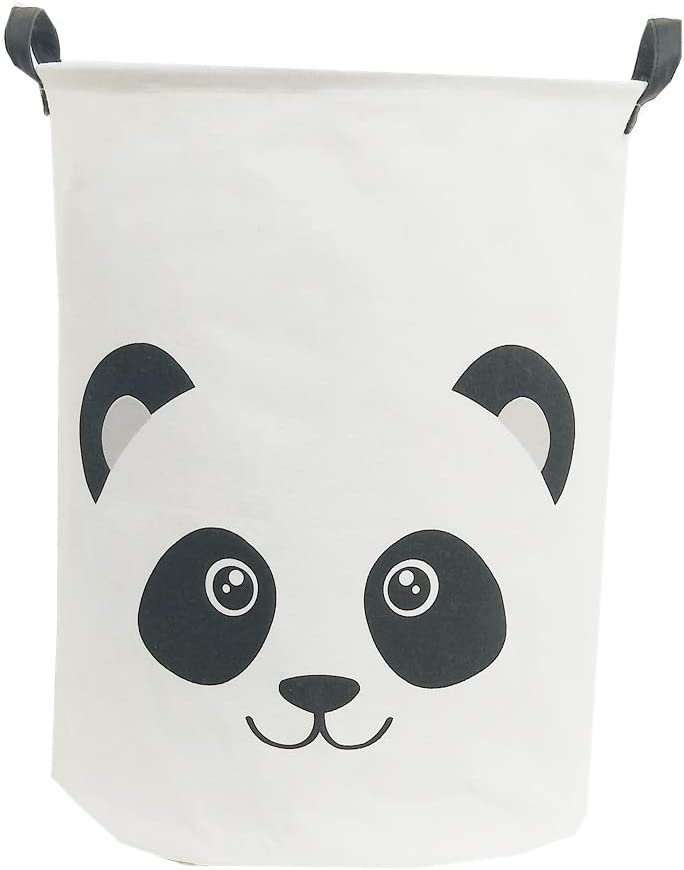 "TIBAOLOVER 19.7"" Large Sized Waterproof Foldable Laundry Hamper Bucket,Dirty Clothes Laundry Basket, Bin Storage Organizer for Toy Collection,Canvas Storage Basket with Stylish Cartoon Design (Panda)"