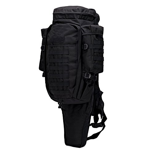 GEARDO Military Tactical Backpack Rifle Gun Storage Holder Military Survival Trekking Hiking Fishing Rod Bag W/Belt Black