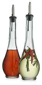 Classic Set of 2 Vintage Glass Olive Oil Dispenser Teardrop Bottles - 2 Piece Cruet Set