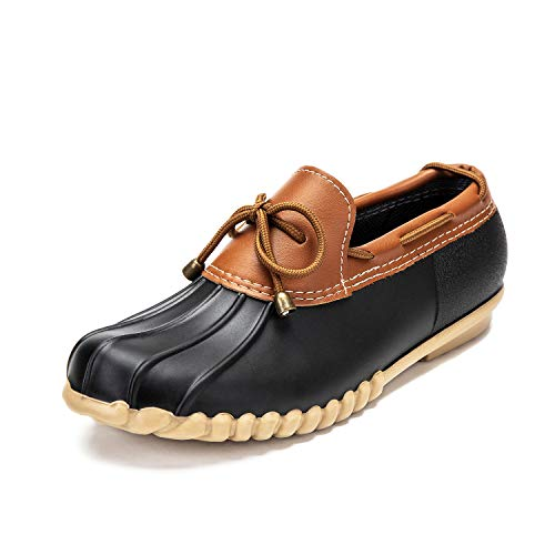 DKSUKO Women's Waterpoof Loafer Shoes Slip On Flat Duck Shoes (12 B(M) US, Black Summer)