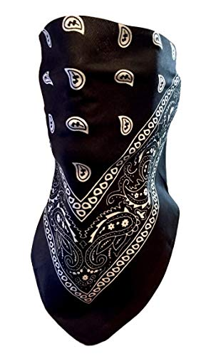 (Black and White Paisley VELCRO®Brand Adjustable Close Bandanna Mask Face Cover Reversible Dust, Bug Mask, Sun and Exhaust Protection, Motorcycle ATV Rider Hand Made By My Skull Store)