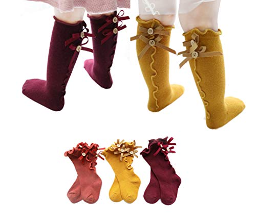 - 10 Pairs/5 Pairs/3 Pairs Newborn Baby Litter Girl Toddler Knitted Knee High Cotton Socks 0~5t (3t-5t, 3Pair/yellow/red/coral)
