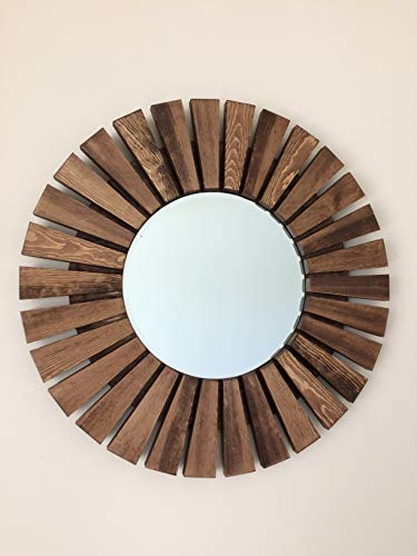 Sunburst Wall Mirror Round Handmade Special Walnut Wood Frame