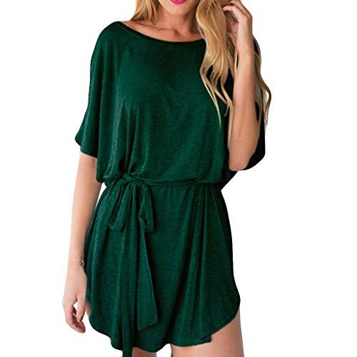 Batwing Belt (T-Shirt Dress for Women Batwing Half Sleeve Pleated Solid Color Loose High Low Hem Belt Simple Summer Dresses (M, Green))