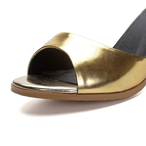 Buckle High Assorted Toe Womens Cow Color Gold AmoonyFashion Heels Open Sandals Leather Tq5EWYw