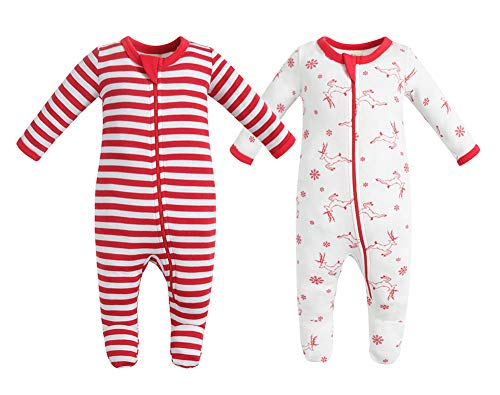 Owlivia Organic Cotton Baby Boy Girl 2 Pack Zip Front Sleep 'N Play, Footed Sleeper,Christmas Pjs Long Sleeve (Size 0-18 Month)(Newborn,Red Deer+Red Stripe) -
